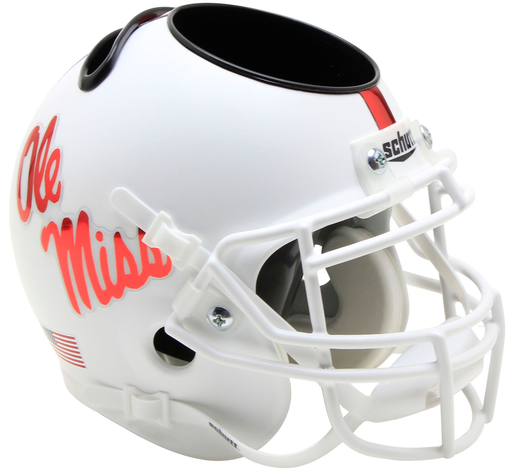 Mississippi (Ole Miss) Rebels Mini Helmet Desk Caddy - White With Red Decal