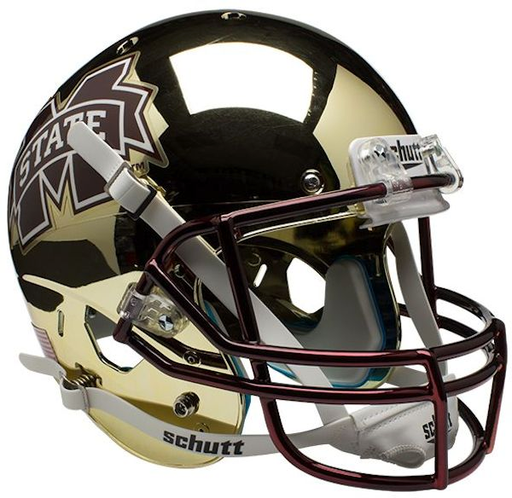 Mississippi State Bulldogs Replica Schutt XP Full Size Helmet - Chrome Gold