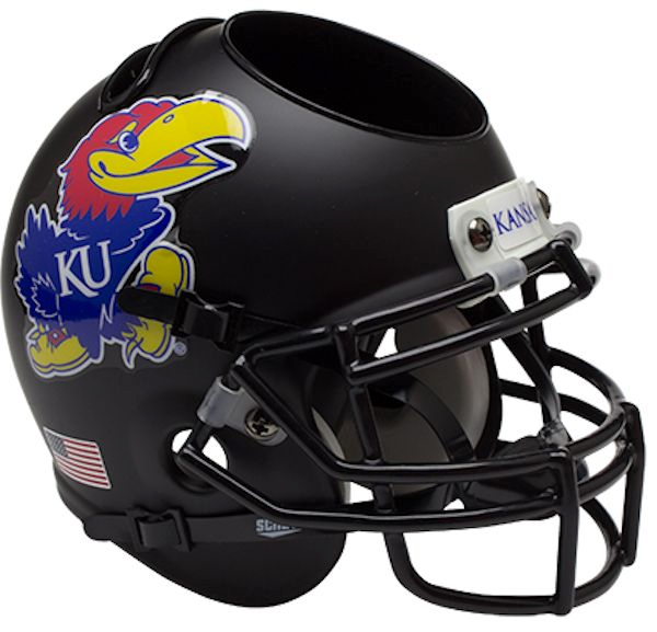 Kansas Jayhawks Mini Helmet Desk Caddy - Matte Black