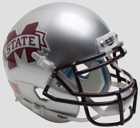 Mississippi State Bulldogs Authentic Full Size Schutt XP Helmet - Silver