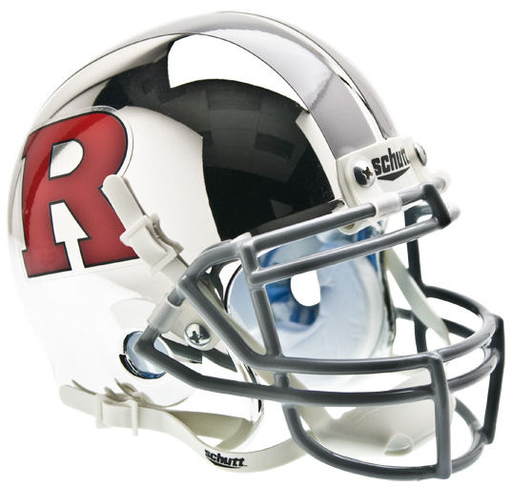Rutgers Scarlet Knights Schutt XP Mini Helmet - Chrome Red R and Silver Stripe
