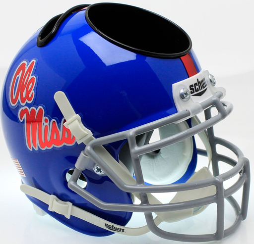 Mississippi (Ole Miss) Rebels Mini Helmet Desk Caddy - Blue with Chrome Decal