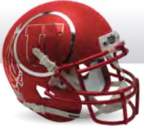 Utah Utes Replica Schutt XP Full Size Helmet - Satin Red Chrome Decal