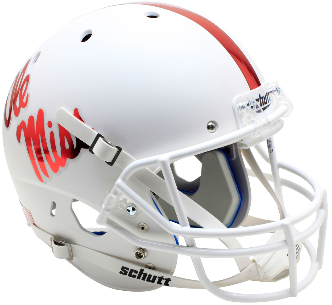 Mississippi (Ole Miss) Rebels Replica Schutt XP Full Size Helmet - White With Red Decal
