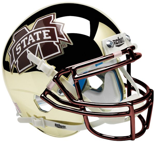 Mississippi State Bulldogs Schutt XP Mini Helmet - Chrome Gold