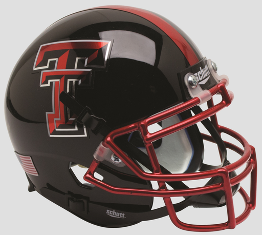 Texas Tech Red Raiders Authentic Schutt XP Full Size Helmet - Chrome Mask Guns Up