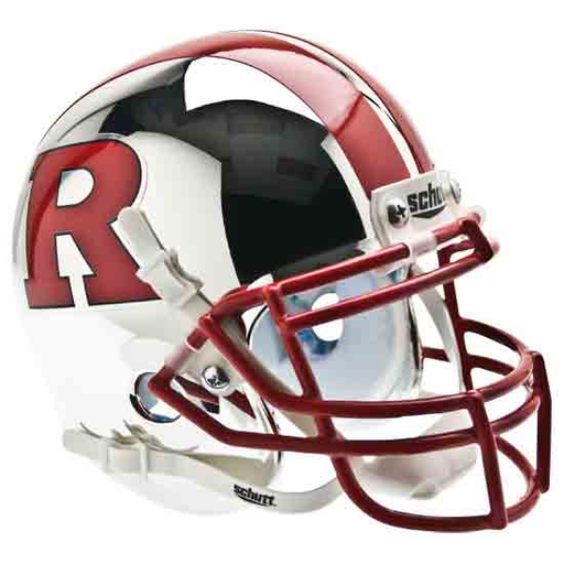 Rutgers Scarlet Knights Mini Helmet Desk Caddy - Matte Chrome Red R - Red Mask