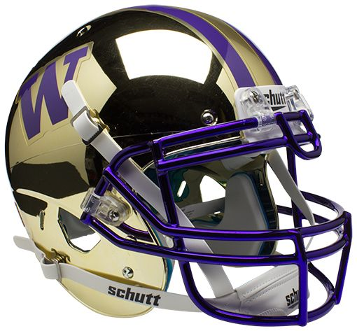 Washington Huskies Authentic Schutt XP Full Size Helmet - Chrome Gold