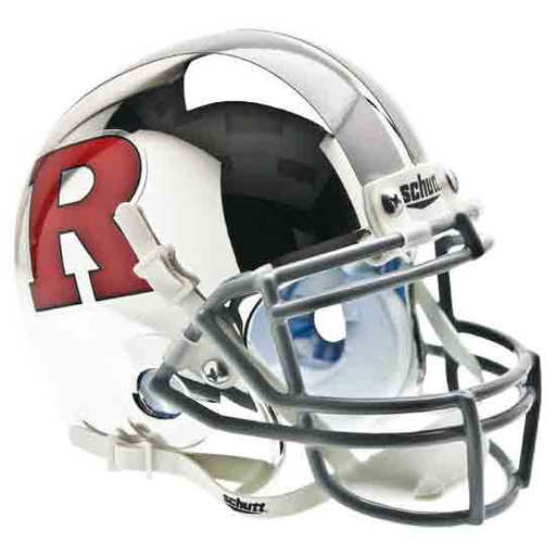Rutgers Scarlet Knights Mini Helmet Desk Caddy - Matte Chrome Red R - Gray Mask