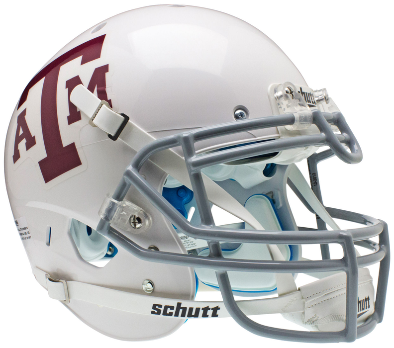Texas A&M Aggies Authentic White Schutt XP Full Size Helmet - Gray Mask