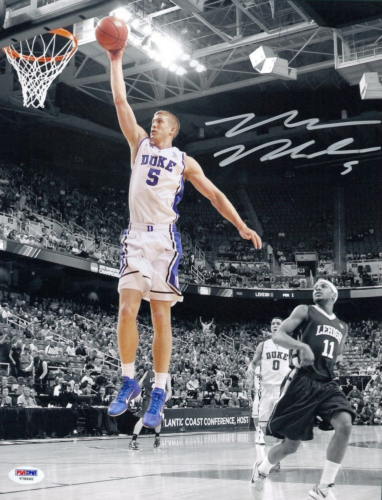 Mason Plumlee Autographed Duke Blue Devils 11x14 Photo - PSA