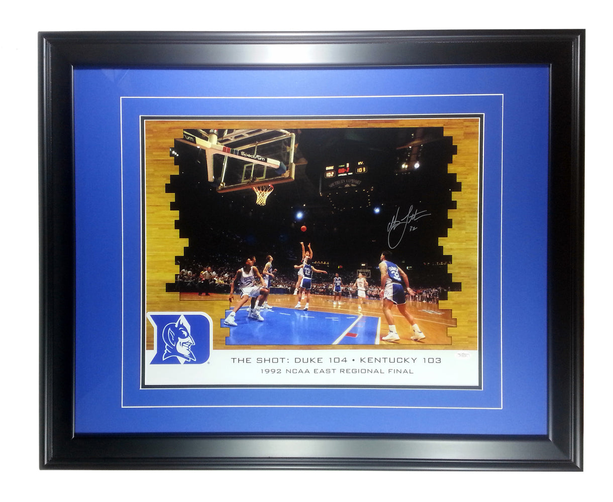 Christian Laettner Duke Blue Devils Autographed 16x20 Photo - Custom Framed - The Shot - JSA