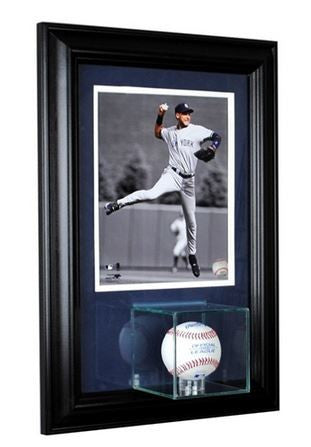 Wall Mounted Single Baseball Display Case and 8x10 Photo