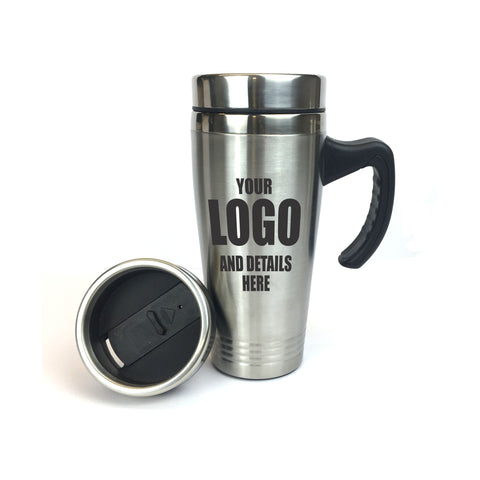 TRAVEL MUG (475ml) STAINLESS WITH HANDLE