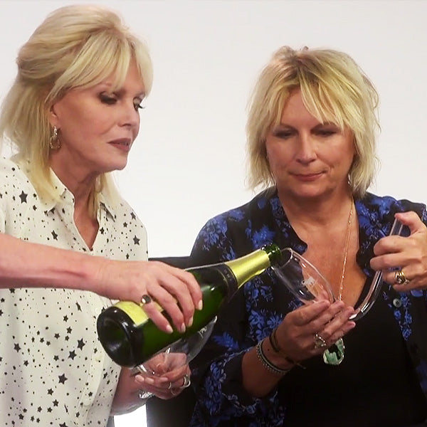 Jennifer Saunders and Joanna Lumley try the Chambong champagne toasting flute