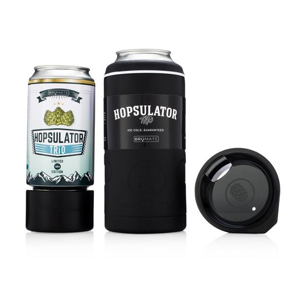 BruMate Hopsulator Trio beverage can cooler in black