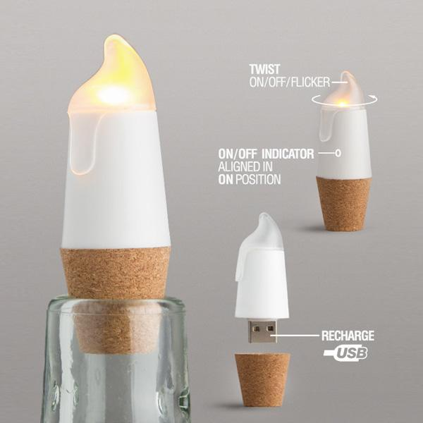 Buy USB Flickering Candle Bottle Light and other gifts online - The Fowndry