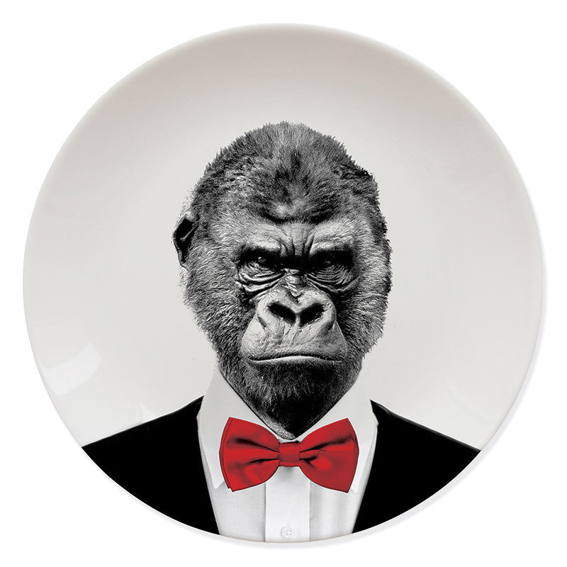 Wild Dining Gorilla Animal Plate on a white background