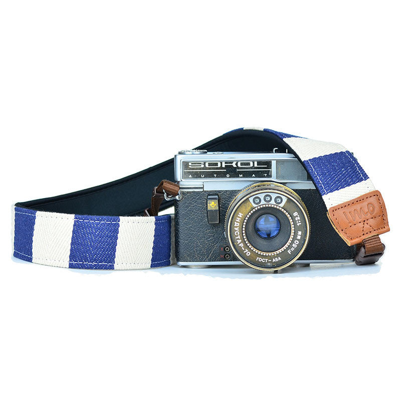 iMo Quick Release Camera Straps - Blue Stripes - Only £24.99 | www.thefowndry.com