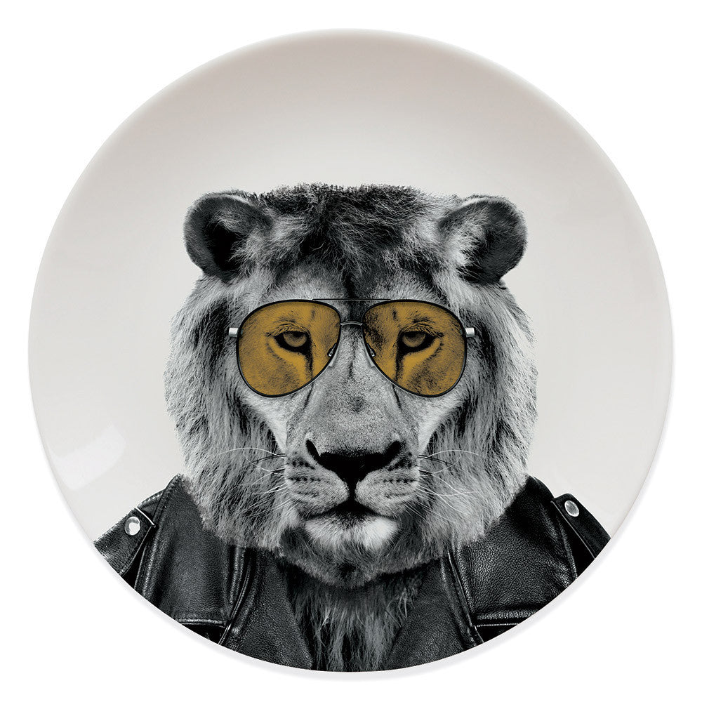 Wild Dining Lion Animal Plate on a white background