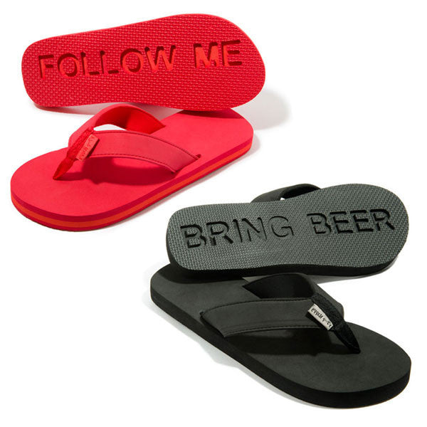 Buy Follow Me Bring Beer Flip Flops and other gifts online - The Fowndry