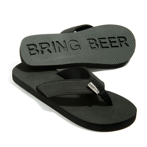 Follow Me Bring Beer Flip Flops in black