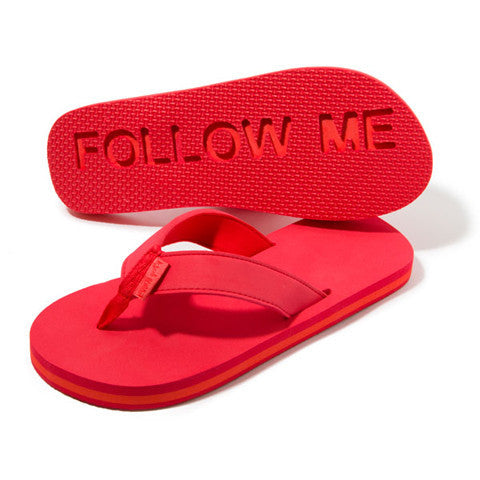 Follow Me Bring Beer Flip Flops in red