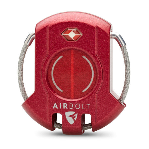 AirBolt Smart Travel Lock in Monza Red on a white background