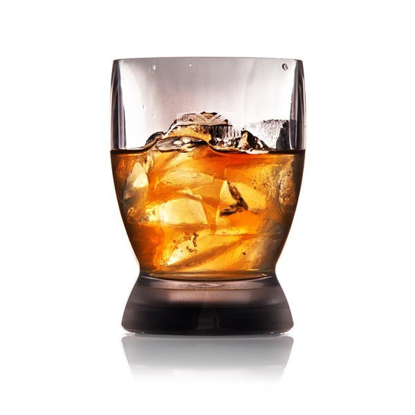 Mighty Mug Barware Tumbler Glass filled with whisky on the rocks, white cutout image
