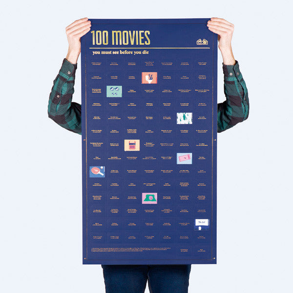 100 Movies You Must See Before You Die Poster being held up by a man