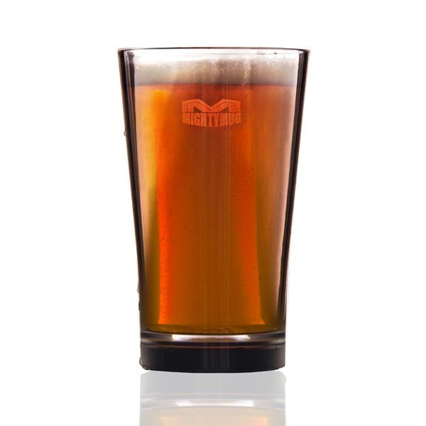 Mighty Mug Barware Pint Glass filled with beer, white cutout image