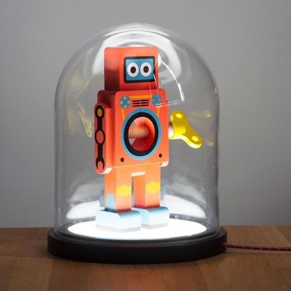 Bell Jar Lamp displaying a robot nutcracker - buy at The Fowndry