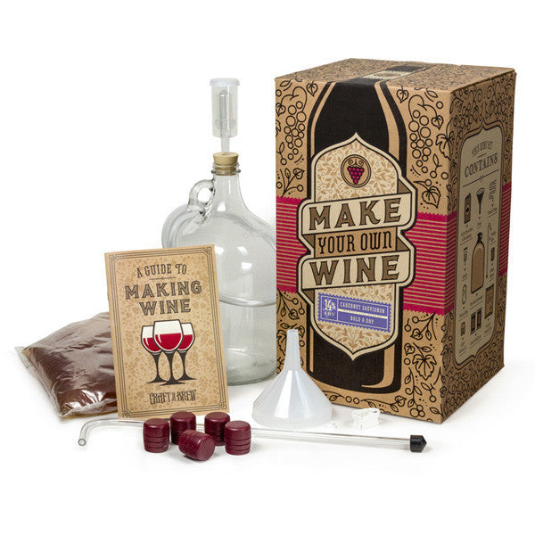 Craft A Brew Wine Making Kit - Cabernet Sauvignon version, showing contents