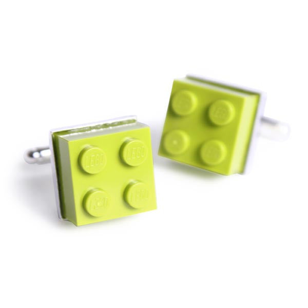 LEGO Brick Cufflinks lime green version - white cutout image
