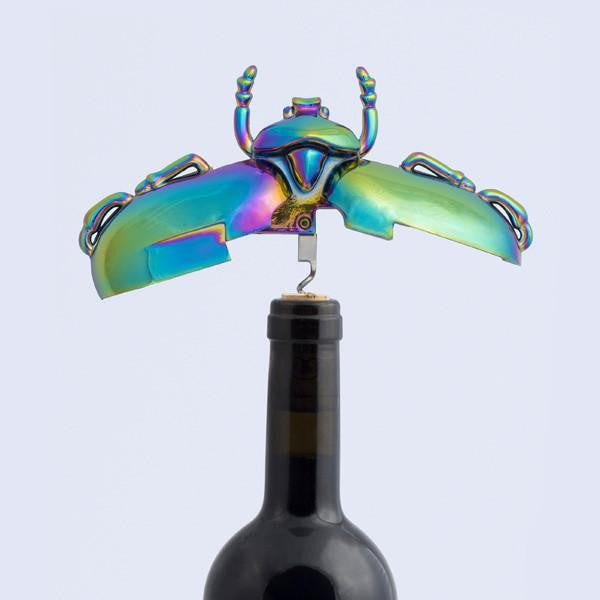 Insectum Beetle Corkscrew opening a bottle of red wine