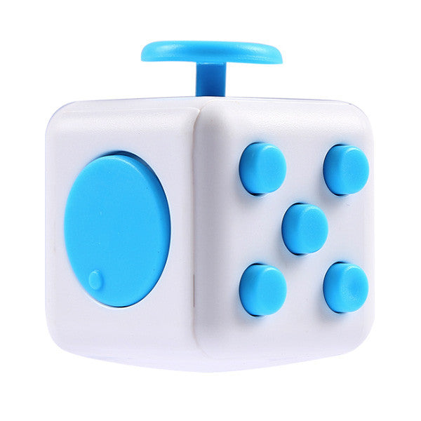 The Original Fidget Cube white with blue buttons version
