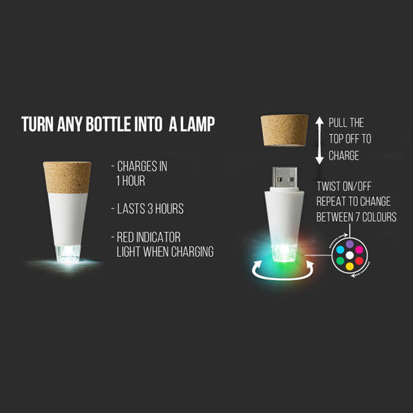 Buy Multicolour USB Rechargeable Bottle Light and other gifts online - The Fowndry
