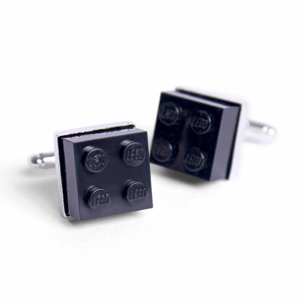 LEGO Brick Cufflinks black version - white cutout image