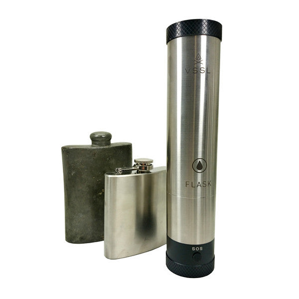 VSSL Flask - Polished metal version compared to traditional drinks flasks