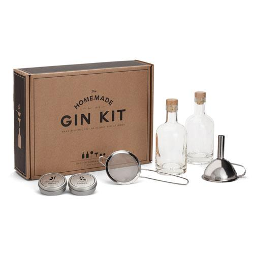The DIY Gin Kit showing the box and its contents on a white surface and background