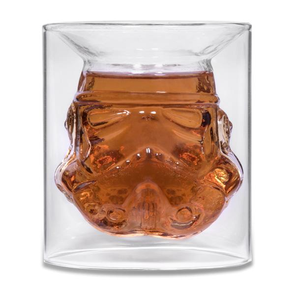 The Original Stormtrooper Shot Glass full of whisky on a white background