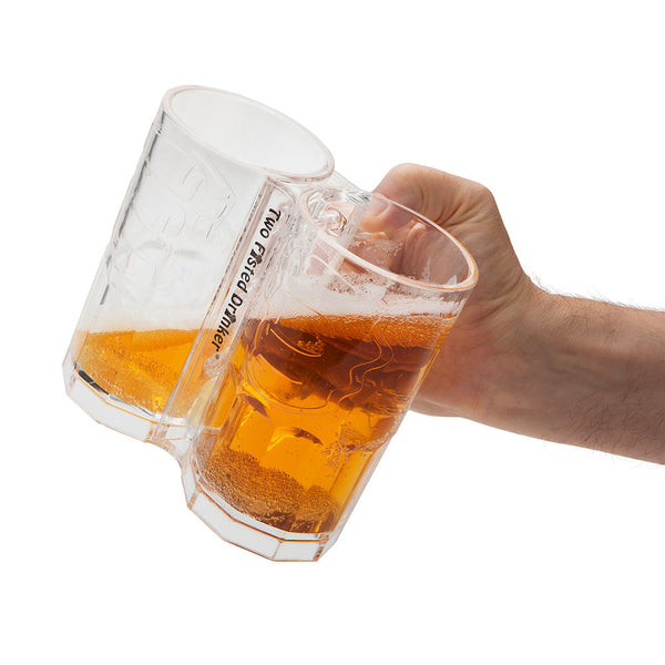 Two Fisted Beer Drinker: 2-in-1 Beer Glass Stein