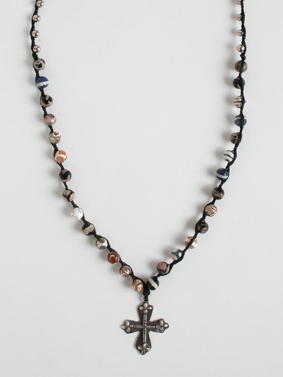 Ethiopian Medallion with Agate Beads Necklace