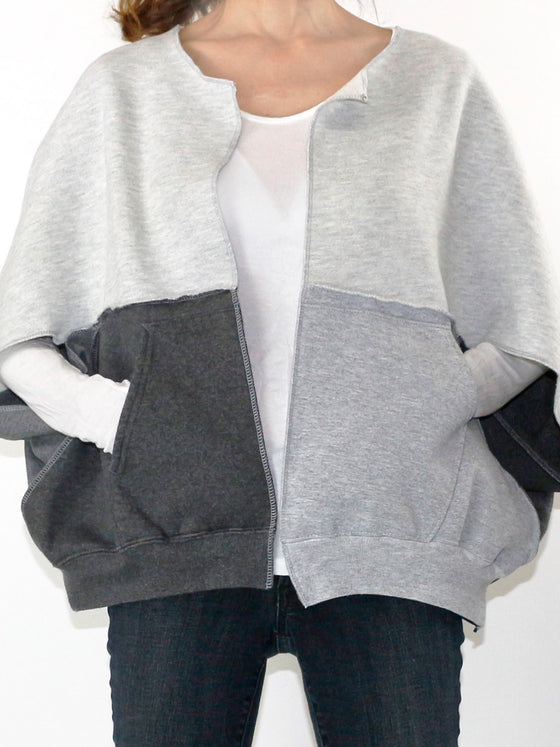 Origami Cardi: Batwing Top Greys+Blues