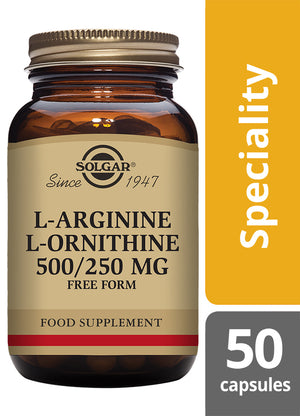 Solgar® L-Arginine 500 mg / L-Ornithine 250 mg Vegetable Capsules - Pack of 50