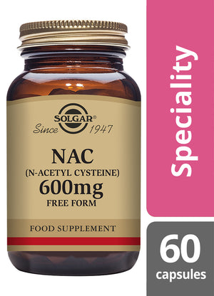 Solgar® NAC (N-Acetyl Cysteine) 600mg Vegetable Capsules - Pack of 60