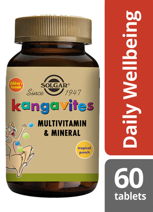 Solgar® Kangavites® Complete Multivitamin & Mineral Formula for Children (Tropical Punch) Chewable Tablets - Pack of 60