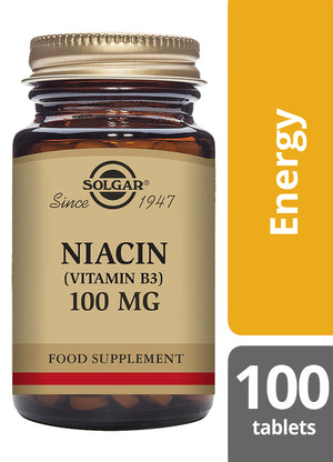 Solgar® Niacin (Vitamin B3) 100mg Tablets - Pack of 100