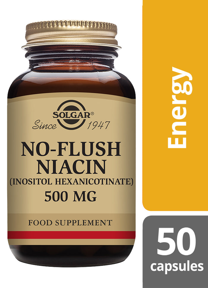 Solgar® No-Flush Niacin (Inositol Hexanicotinate) 500mg Vegetable Capsules - Pack of 50