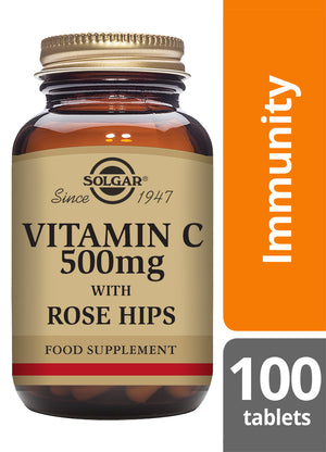 Solgar® Vitamin C 500mg with Rose Hips Tablets - Pack of 100